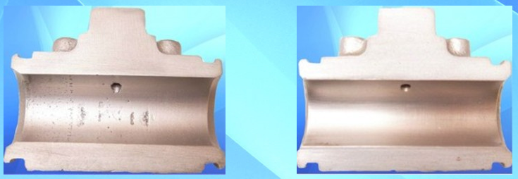 Image shows  Pitted wheel cylinder bore on the left and Sleeved wheel cylinder bore on the right